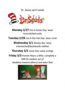 dr seuss spirit week